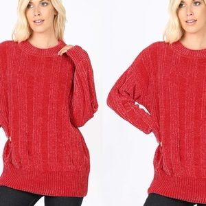 Chenille Red Ribbed Cable Knit Round Neck Sweater